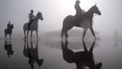 Uluabat Gölü'nde  at sırtında